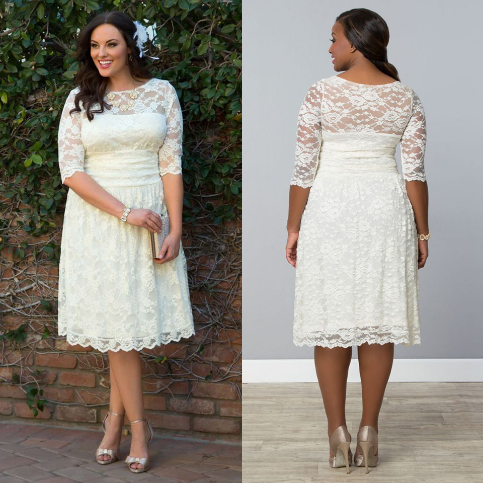Compare Prices on Plus Size Casual Wedding Dresses with Sleeve ...