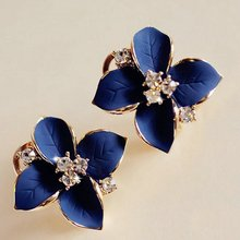 2015 Luxurious Crystal Earrings For Women Clovers Flower White Black Blue Color Fine jewelry Christmas Gift(China (Mainland))