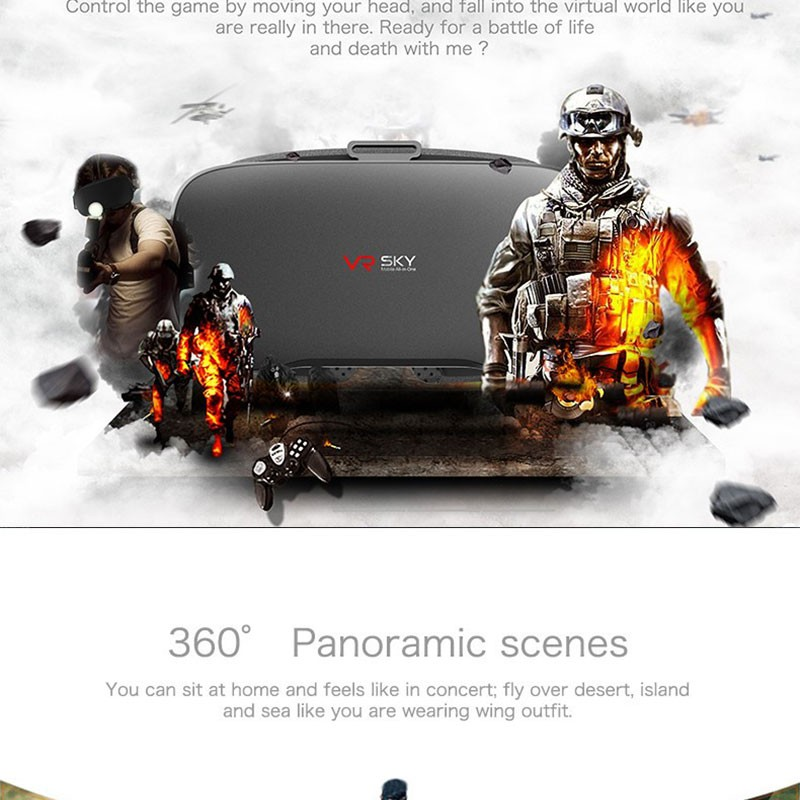 Google Cardboard VR SKY All-in-one VR BOX Allwinner H8 Virtual Reality 3D Glasses WiFi BT4.0 VR Headset inch 5.5 For Smartphone