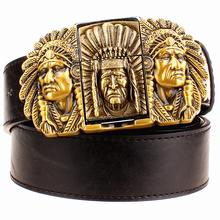 Buy Fashion male leather belt lighter metal buckle belts Kerosene lighter belt punk rock style indians eagle show belt gift men for $10.96 in AliExpress store