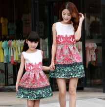 2016CARTER Summer Mother & Daughter Family Matching Outfits Vintage Print Sleeveless Dress