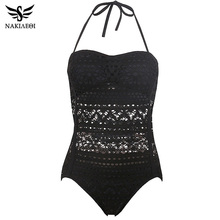 NAKIAEOI One Piece Swimsuit Plus Size Swimwear Women 2017 Sexy Beach Lace Crochet Monokini Swimsuit Retro Bathing Suit Swim Wear(China (Mainland))