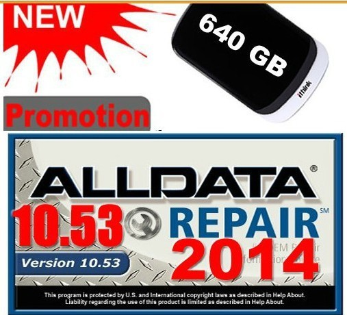 [ Free shipping]2014 ALLDATA 10.53+125gb Mitchell 2014 +med& heavy truck Full set Repair software with 750G HDD 3.0USB