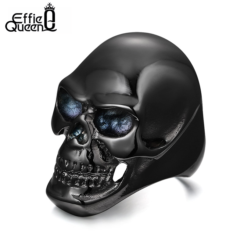 DALI Newest Coming Gothic Men s Biker Stainless Steel Ring Fashion Black Skull Cool Man Finger