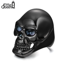 DALI Newest Coming Gothic Men's Biker Titanium Steel Ring Fashion Black Skull Cool Man Finger Rings WTR92(China (Mainland))
