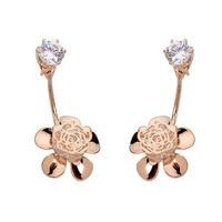 Lover's Gifts!New Hollow Rose Earring Fashion 18K Gold Plated U-Shape Zircon Crystal Stud Earrings Double Sided Earrings