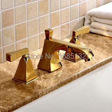 Hotsale Promotion Lead Free Water Saving Luxurious Brass 8 Inch Widespread Golden Basin faucet Bathroom Taps(China (Mainland))