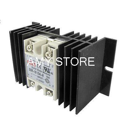 DC to AC Solid State Relay SSR-10DA-H 10A 3-32V 90-480V + Aluminum Heat Sink(China (Mainland))