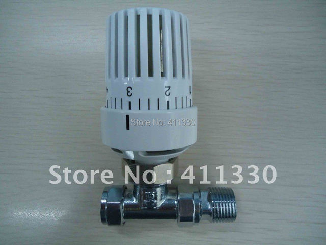 Thermostatic head with DN15 straight radiator valve body