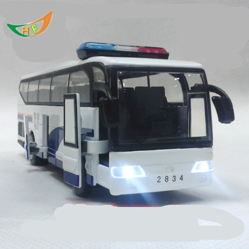 Plain police big bus the door alloy toy car model voiture juguete the birthday of Jesus Christ gift kids toys(China (Mainland))
