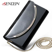 Sendefn Quality Leather Women Party Day Clutches Shoulder Bag Women Handbag Fashion Clutch Purse Metal Chain Wallet(China (Mainland))