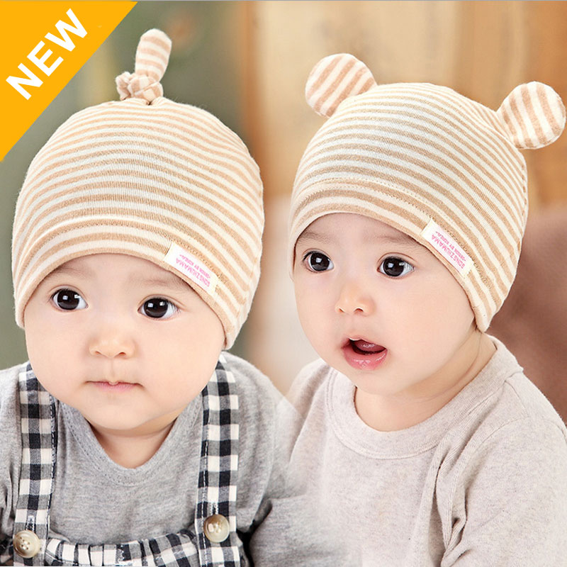 Baby Beanie Hat Stripes Style Infant Cap for Boys Girls Toddler Kids Children Cute Spring Natural Organic Cotton Newborn Hats(China (Mainland))
