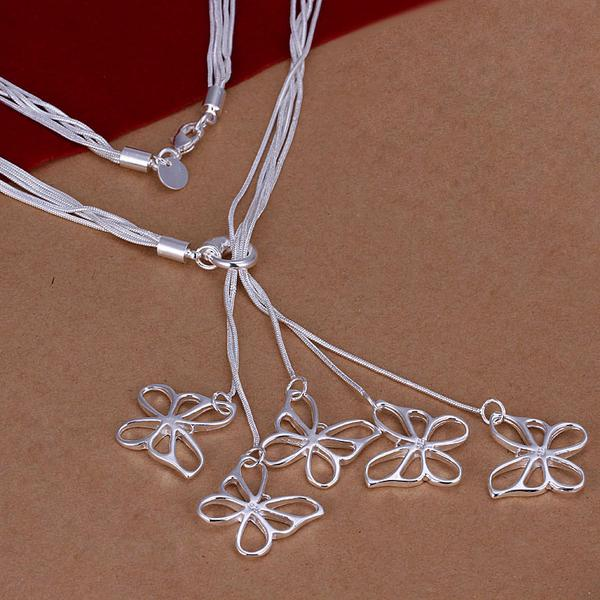 Promotion price Fashion Jewelry silver women 5 butterfly pendant Necklace Wholesale silver Jewelry Christmas Gift