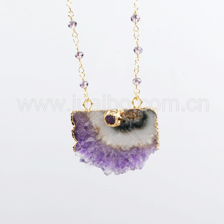 Natural Amethyst Necklace ,24K Gold Plated  Natural Geode Druzy & Amethyst Necklace Pendants Quartz Druzy Jewelry G0239