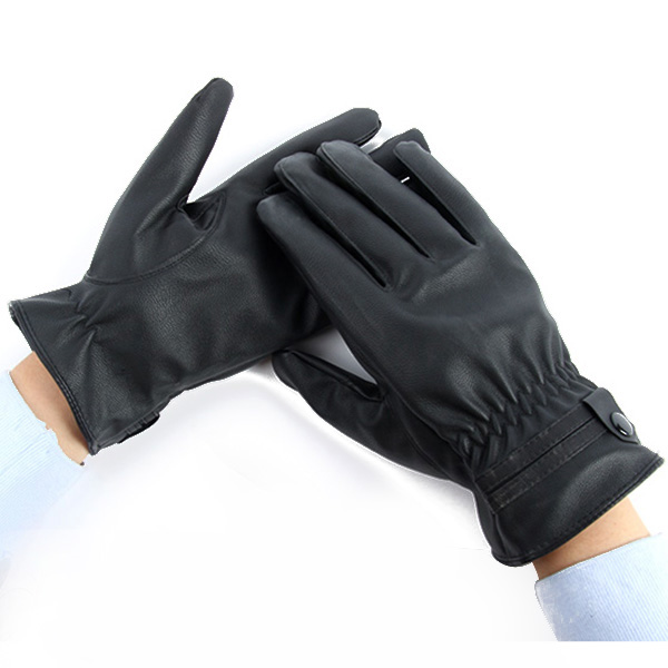 Men Boy PU Leather Full Finger Glove Winter Warm Outdoor Mitten +Faux Fur Lined(China (Mainland))