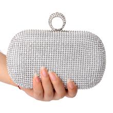 NEW Rhinestones women clutch bags diamonds finger ring evening bags crystal wedding bridal handbags purse bags holder