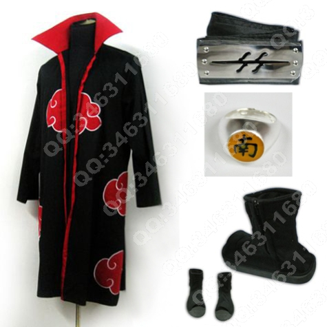 Naruto Akatsuki cloak Hoshigaki Kisame Cosplay costume Full Set Free shipping(China (Mainland))
