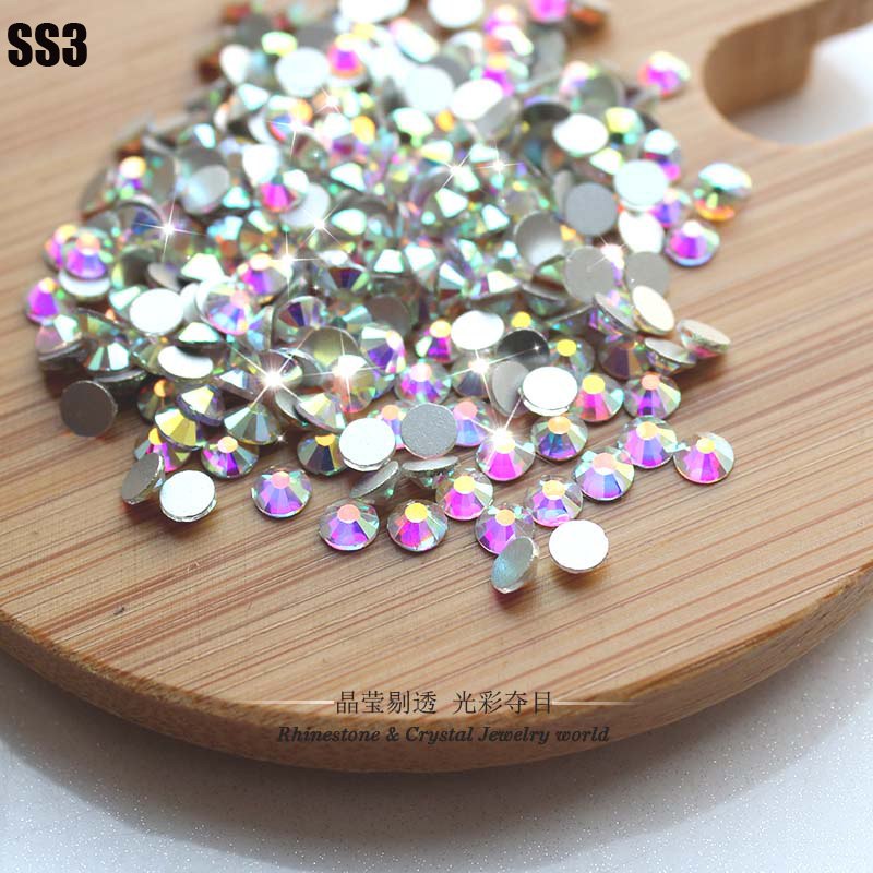 Hot Sale!SS3(1.3-1.5mm)1440pcs/bag Crystal AB Non Hot Fix FlatBack Rhinestones Glue-on Crystal Nail Art Stone for Fashion DIY(China (Mainland))