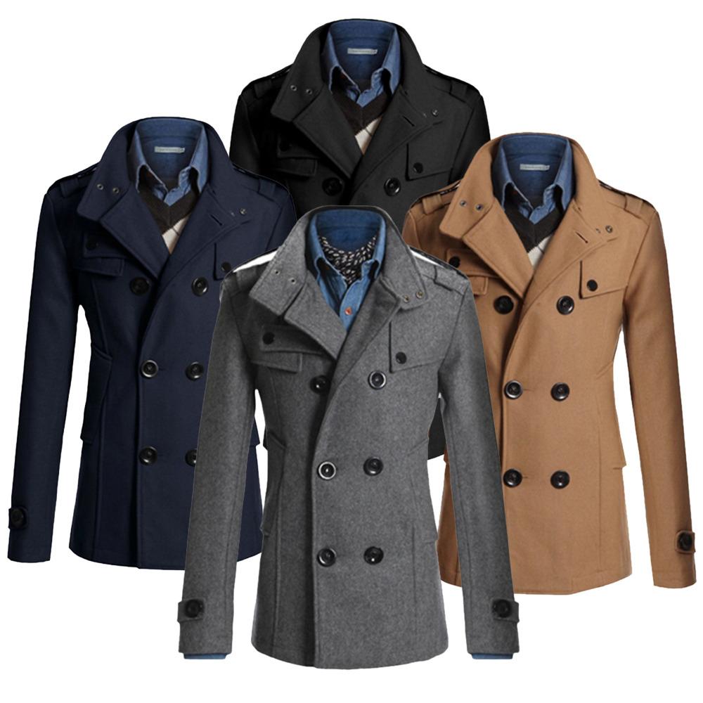 Mens Military Pea Coat Jackets Han Coats