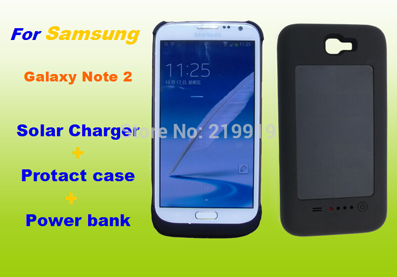 Solar Recharge Battery Case for Samsung Galaxy Note 2 N7100 Power Bank 3000mah(China (Mainland))