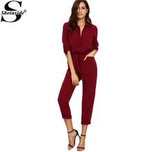 Sheinside 2016 Fall Ladies Burgundy Lapel Tie Waist Dual Pockets Rolled Sleeve Buttons Front Office Jumpsuit (China (Mainland))
