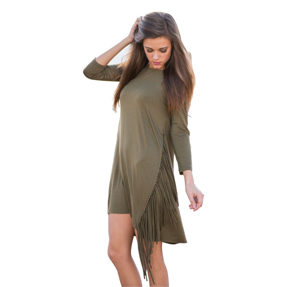 New 2016 Army Green Red Women Jersey Cotton Slouchy 3/4 Sleeve Tassel Fringed Casual Mini Tee Dress Spring Fall Boutique Vestido(China (Mainland))