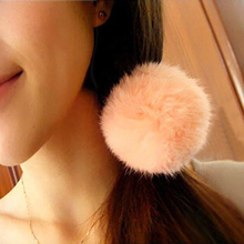 Korean Artificial Rabbit Fur Ball Elastic Hair Band Ponytail Holder Girls Hair Clip Headband Hair Accessories Gift Free Shipp LY(China (Mainland))