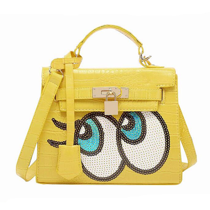 Women Leather Handbags 2016 Bling Eyes Printing Shoulder Bags For Lady Shoulder Bags Cute Crossbody Bag Casual Tote Bag DL9078(China (Mainland))