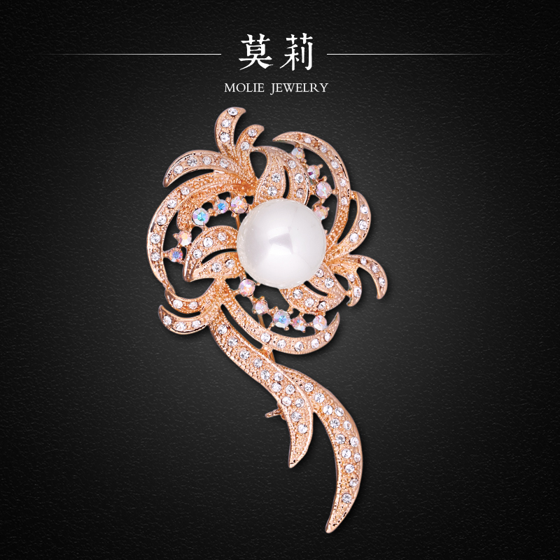 2014 austrial crystal natural pearl inlaying elegant brooch molie mb0039<br><br>Aliexpress
