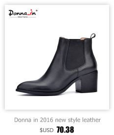 Donna in 2016 new style leather ankle boots pointed toe thick heel elastic women's short boots big size women shoes