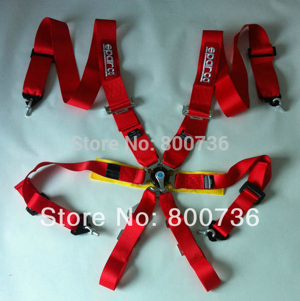 New type FIA 2018 Homologation 3 inches/6Point Spar*c*o Racing seat belt (Red,blue,black availabel)(China (Mainland))