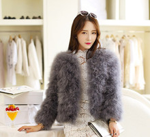 Hot Sale New 2014 Women Winter Short Slim Thick O-Neck Full Sleeve Single Breasted Solid Ostrich Feather Faux Fur Coat LJ464(China (Mainland))