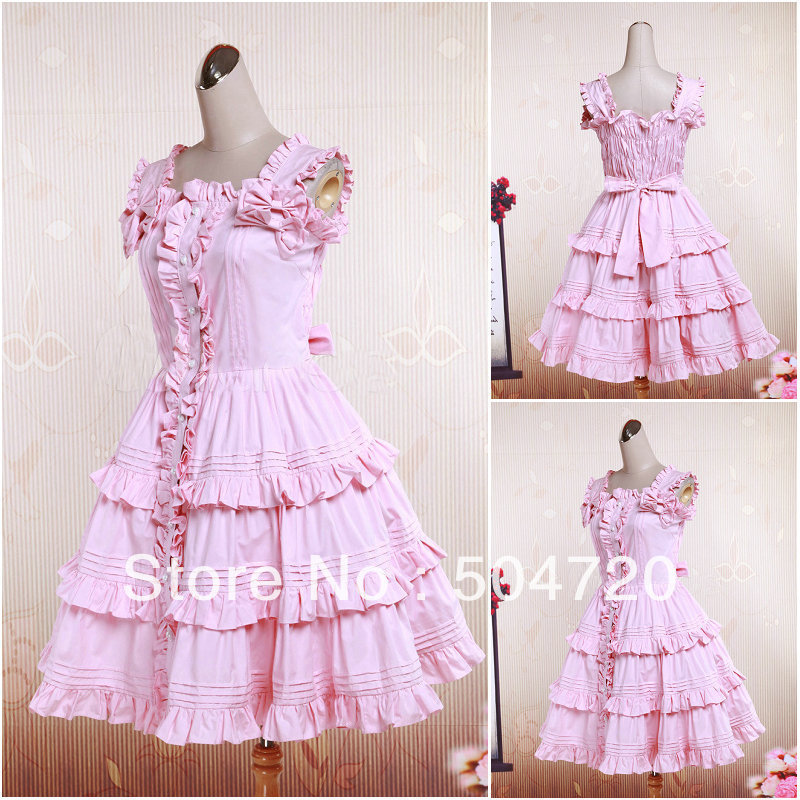 Pink   cotton Sweet School Lolita Dress/victorian dress/Halloween costume US6-26 XS-6XLОдежда и ак�е��уары<br><br><br>Aliexpress