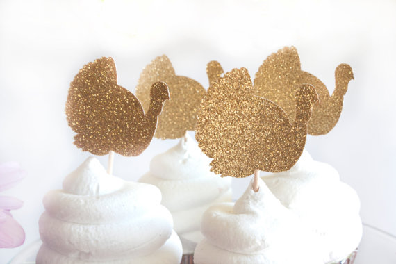 Glitter Turkey Cupcake Toppers Gold Glitter Cupcake Toppers Thanksgiving Decor Decorations Friendsgiving Party Ideas Favors24pcs(China (Mainland))