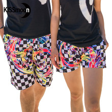 KISSyuer 2 pieces Couple sets Quick-drying Chequered flag Swimwear board shorts women Couples women men board shorts KBS1219