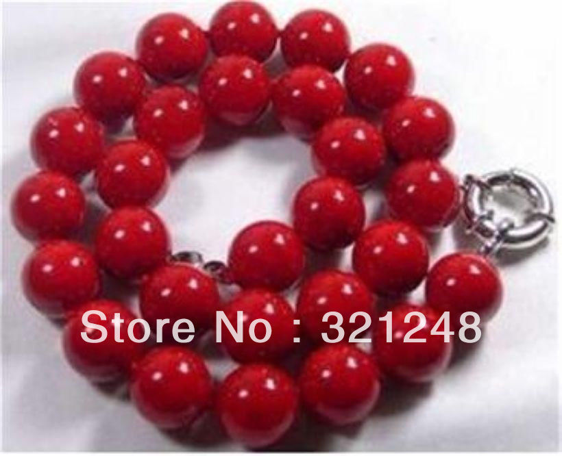 Free shipping new diy 10mm red sea natraul coral round beads chains necklace women weddings party gifts jewelry 18inch GE5341(China (Mainland))