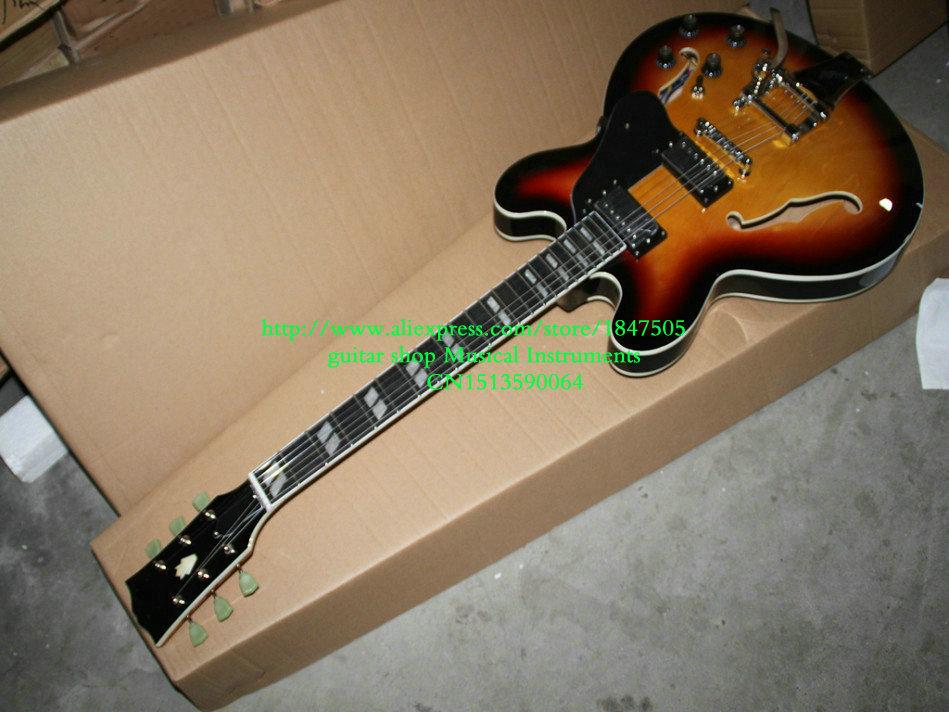 New Arrival Sunburst Hollow Jazz Guitar Ebony fingerboard with Bigbys High Quality Wholesale Guitars HOT(China (Mainland))