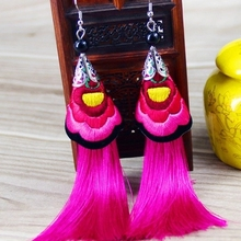 2016 new earrings long section of national wind embroidery flower tassel exaggerated retro Korea(China (Mainland))