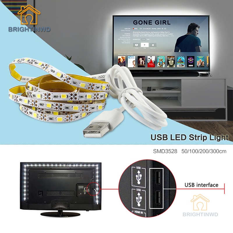LED Strip USB SMD3528 Lights 50CM 1M 2M 3M Cable LED 5V USB Strip Light TV Background Lighting Non Waterproof Holiday lights(China (Mainland))