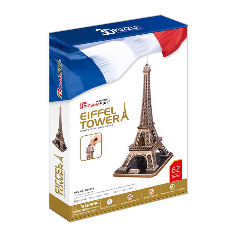 Kids Toys Cubic Fun 3D Puzzle Eiffel Tower (France) Model DIY Puzzle Children Toys Birthday Gifts Educational Toys MC091h(China (Mainland))