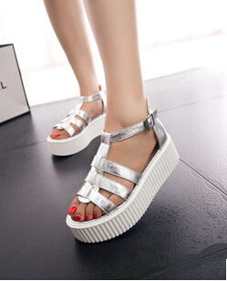 Newest Fashion Gladiator Platform Sandals Women Personalized Silver And White PU Leather Thick Heels Summer Ladies Shoes Q65(China (Mainland))