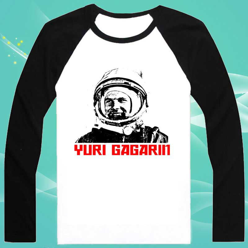 YURI GAGARIN RUSSIAN New Fashion Men s T shirts Long Sleeve Tshirt Cotton t shirts Man(China (Mainland))
