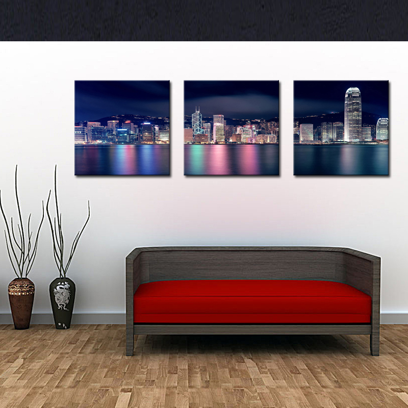 3 Picture Combination City Paintings Wall Art Decor Hong Kong Victoria Harbour at Night On Canvas for Modern Home Decoration(China (Mainland))