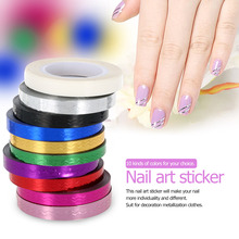 10Pcs Mixed Colors Foil Nail Art Stickers Rolls Striping Tape Lace Line DIY Styling Nail Art Decorations Nail Accessories(China (Mainland))