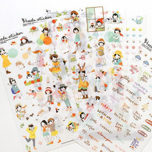 6 Sheets Heeda Girls PVC Sticker Korean Style Cute Kawaii Planner Stickers for Notebook Diary Deoration(China (Mainland))