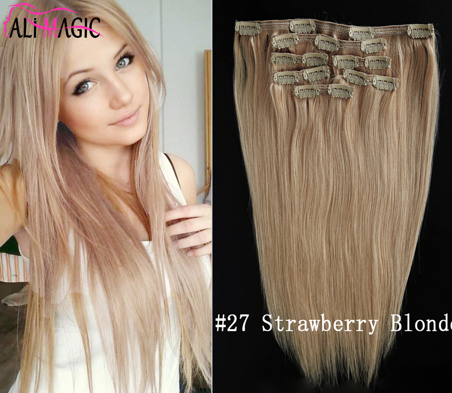 Invisible 7pcs/set Strawberry Blonde Clip In Human Hair Extensions Straight Brazilian Virgin Hair Clip In Extensions