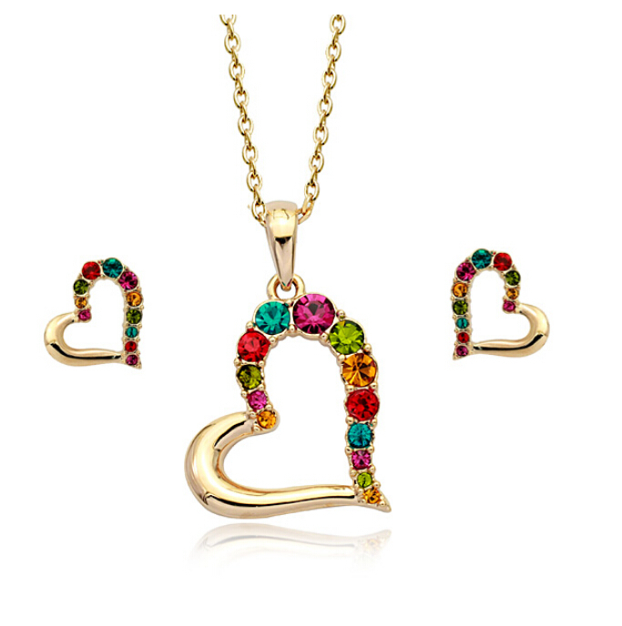 18K Gold Plated Elegant Hearts Wedding Jewelry Necklace Earrings Set Made Austrian Crystals SB020 - szwxfx store (MOQ:15USD store)