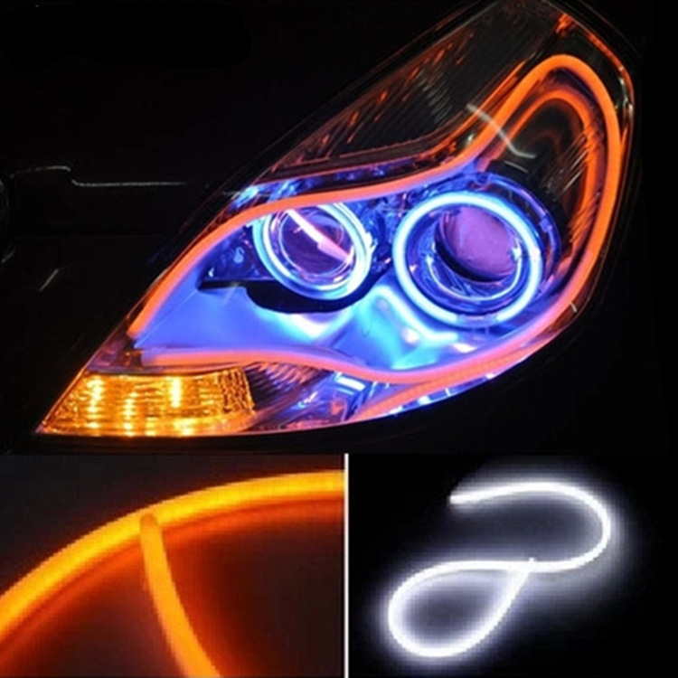 2X60 CM Car Flexible Led Tube Strip DRL Lights with White/Amber Dual Color Function Headlight Tear Strip Daytime Running Light<br><br>Aliexpress