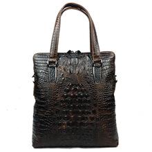 Vertical Retro Genuine Leather Alligator Men Briefcase Messenger Bag Handbag Business Laptop Notebook Crossbody Shoulder Bags(China (Mainland))