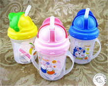 Free Shipping Practical Baby bottle Kids Straw Cup Drinking Bottle Sippy Cups With Handles Cute Design ER036(China (Mainland))